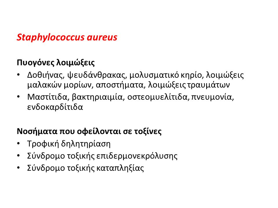 Staphylococcus aureus Παράγοντες παθογονικότητας Κυτταρικό τοίχωμα – πεπτιδογλυκάνη, τειχοϊκό οξύ Πρωτεΐνες επιφανείας – πρωτεΐνη Α, κοαγκουλάση, πρωτεΐνη που δεσμεύει την φιμπρονεκτίνη Εξωτοξίνες – α-, β-, γ-, δ-λυσίνη, λευκοκτονίνη Panton-Valentine, επιδερμολυτικές τοξίνες, τοξίνη του τοξικού σοκ, εντεροτοξίνες, κοαγκουλάση, σταφυλοκινάση, λιπάση, δεσοξυριβονουκλεάση