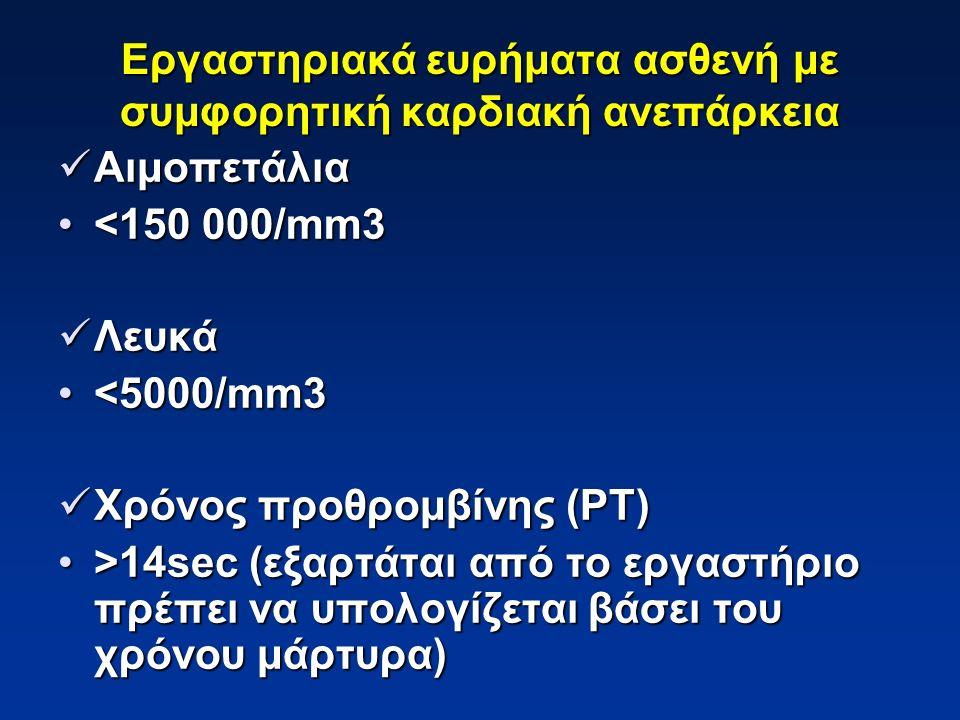 Χρόνος μερικής θρομβοπλαστίνης (ΡΤΤ) Χρόνος μερικής θρομβοπλαστίνης (ΡΤΤ) >35sec (εξαρτάται από το εργαστήριο πρέπει να υπολογίζεται βάσει του χρόνου μάρτυρα)>35sec (εξαρτάται από το εργαστήριο πρέπει να υπολογίζεται βάσει του χρόνου μάρτυρα) Γενική ανάλυση ούρων Γενική ανάλυση ούρων ειδικό βάρος >1025ειδικό βάρος >1025 λεύκωμα -συνήθως είναι παθολογικόλεύκωμα -συνήθως είναι παθολογικό Εργαστηριακά ευρήματα ασθενή με συμφορητική καρδιακή ανεπάρκεια
