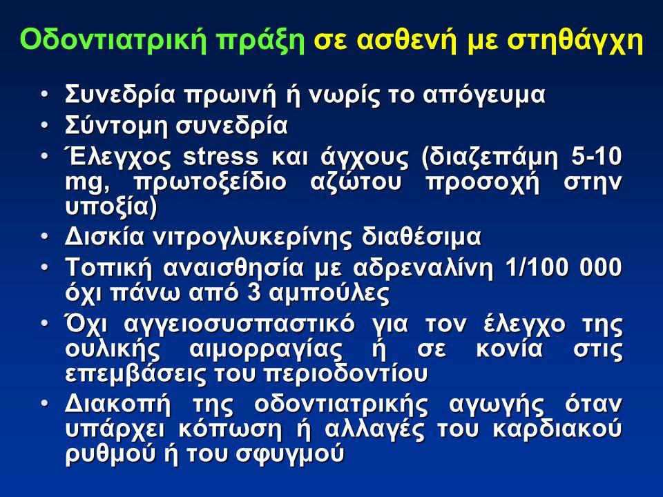 Συνεδρία πρωινή ή νωρίς το απόγευμαΣυνεδρία πρωινή ή νωρίς το απόγευμα Σύντομη συνεδρίαΣύντομη συνεδρία Έλεγχος stress και άγχους (διαζεπάμη 5-10 mg, πρωτοξείδιο αζώτου προσοχή στην υποξία)Έλεγχος stress και άγχους (διαζεπάμη 5-10 mg, πρωτοξείδιο αζώτου προσοχή στην υποξία) Δισκία νιτρογλυκερίνης διαθέσιμαΔισκία νιτρογλυκερίνης διαθέσιμα Τοπική αναισθησία με αδρεναλίνη 1/100 000 όχι πάνω από 3 αμπούλεςΤοπική αναισθησία με αδρεναλίνη 1/100 000 όχι πάνω από 3 αμπούλες Όχι αγγειοσυσπαστικό για τον έλεγχο της ουλικής αιμορραγίας ή σε κονία στις επεμβάσεις του περιοδοντίουΌχι αγγειοσυσπαστικό για τον έλεγχο της ουλικής αιμορραγίας ή σε κονία στις επεμβάσεις του περιοδοντίου Διακοπή της οδοντιατρικής αγωγής όταν υπάρχει κόπωση ή αλλαγές του καρδιακού ρυθμού ή του σφυγμούΔιακοπή της οδοντιατρικής αγωγής όταν υπάρχει κόπωση ή αλλαγές του καρδιακού ρυθμού ή του σφυγμού Οδοντιατρική πράξη σε ασθενή με στηθάγχη