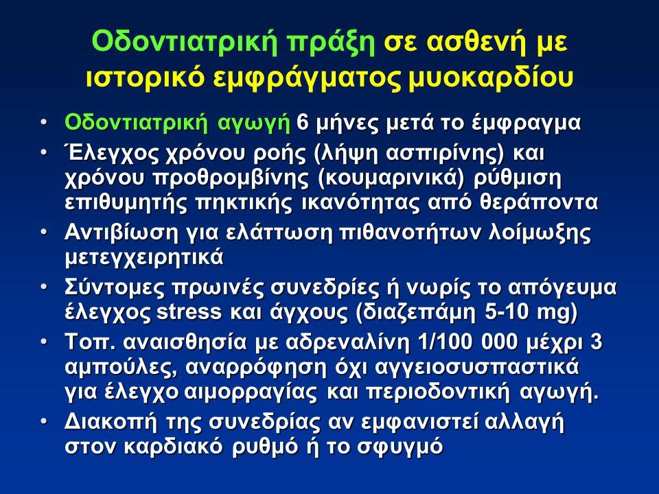 Οδοντιατρική αγωγή 6 μήνες μετά το έμφραγμαΟδοντιατρική αγωγή 6 μήνες μετά το έμφραγμα Έλεγχος χρόνου ροής (λήψη ασπιρίνης) και χρόνου προθρομβίνης (κουμαρινικά) ρύθμιση επιθυμητής πηκτικής ικανότητας από θεράπονταΈλεγχος χρόνου ροής (λήψη ασπιρίνης) και χρόνου προθρομβίνης (κουμαρινικά) ρύθμιση επιθυμητής πηκτικής ικανότητας από θεράποντα Αντιβίωση για ελάττωση πιθανοτήτων λοίμωξης μετεγχειρητικάΑντιβίωση για ελάττωση πιθανοτήτων λοίμωξης μετεγχειρητικά Σύντομες πρωινές συνεδρίες ή νωρίς το απόγευμα έλεγχος stress και άγχους (διαζεπάμη 5-10 mg)Σύντομες πρωινές συνεδρίες ή νωρίς το απόγευμα έλεγχος stress και άγχους (διαζεπάμη 5-10 mg) Τοπ.