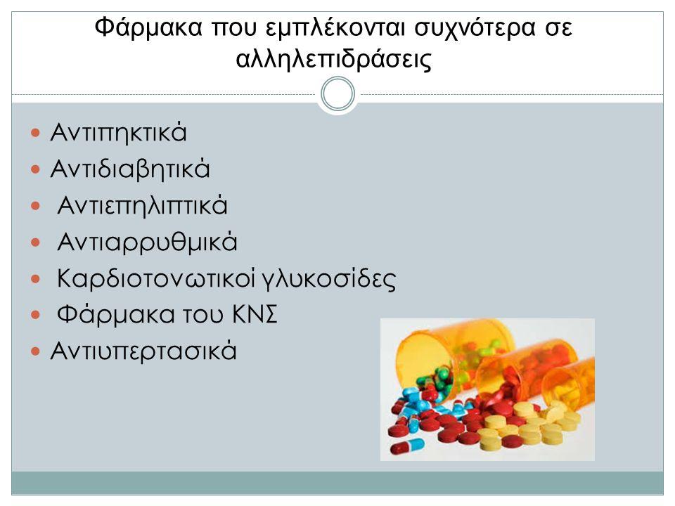 Φάρμακα που εμπλέκονται συχνότερα σε αλληλεπιδράσεις Αντιπηκτικά Αντιδιαβητικά Αντιεπηλιπτικά Αντιαρρυθμικά Καρδιοτονωτικοί γλυκοσίδες Φάρμακα του ΚΝΣ