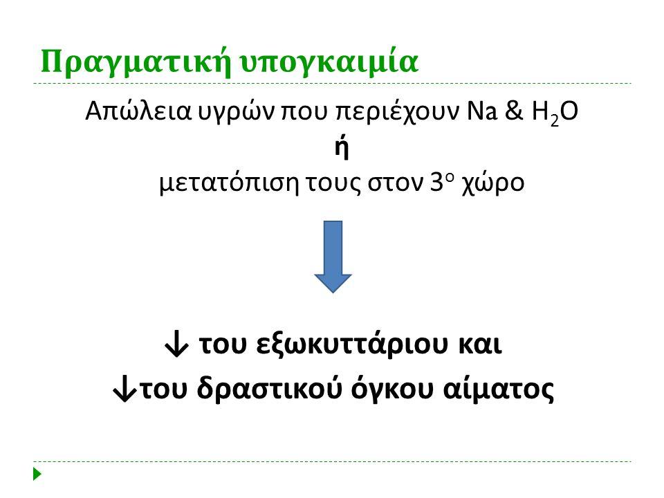 Πραγματική υπογκαιμία Απώλεια υγρών που περιέχουν Ν a & Η 2 Ο ή μετατόπιση τους στον 3 ο χώρο ↓ του εξωκυττάριου και ↓ του δραστικού όγκου αίματος