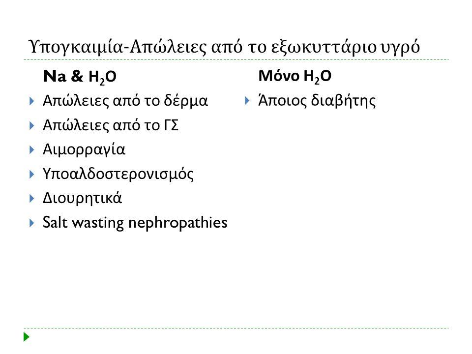 Υπογκαιμία - Απώλειες από το εξωκυττάριο υγρό Na & Η 2 Ο  Απώλειες από το δέρμα  Απώλειες από το ΓΣ  Αιμορραγία  Υποαλδοστερονισμός  Διουρητικά 