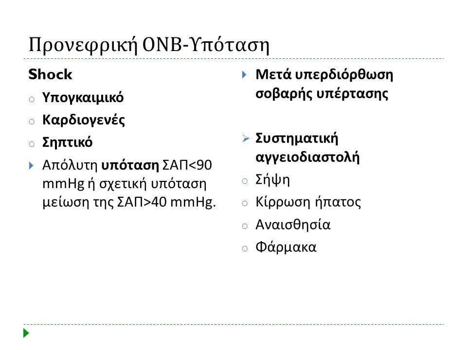 Προνεφρική ΟΝΒ - Υπόταση Shock o Υπογκαιμικό o Καρδιογενές o Σηπτικό  Απόλυτη υπόταση ΣΑΠ 40 mmHg.  Μετά υπερδιόρθωση σοβαρής υπέρτασης  Συστηματικ