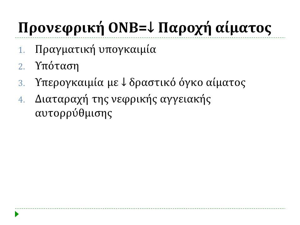 Προνεφρική ΟΝΒ =↓ Παροχή αίματος 1. Πραγματική υπογκαιμία 2. Υπόταση 3. Υπερογκαιμία με ↓ δραστικό όγκο αίματος 4. Διαταραχή της νεφρικής αγγειακής αυ