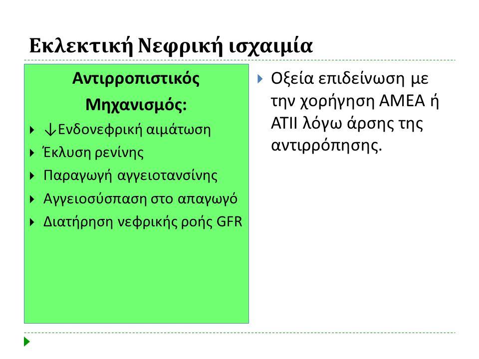 Εκλεκτική Νεφρική ισχαιμία  Οξεία επιδείνωση με την χορήγηση ΑΜΕΑ ή ΑΤΙΙ λόγω άρσης της αντιρρόπησης. Αντιρροπιστικός Μηχανισμός:  ↓Ενδονεφρική αιμά