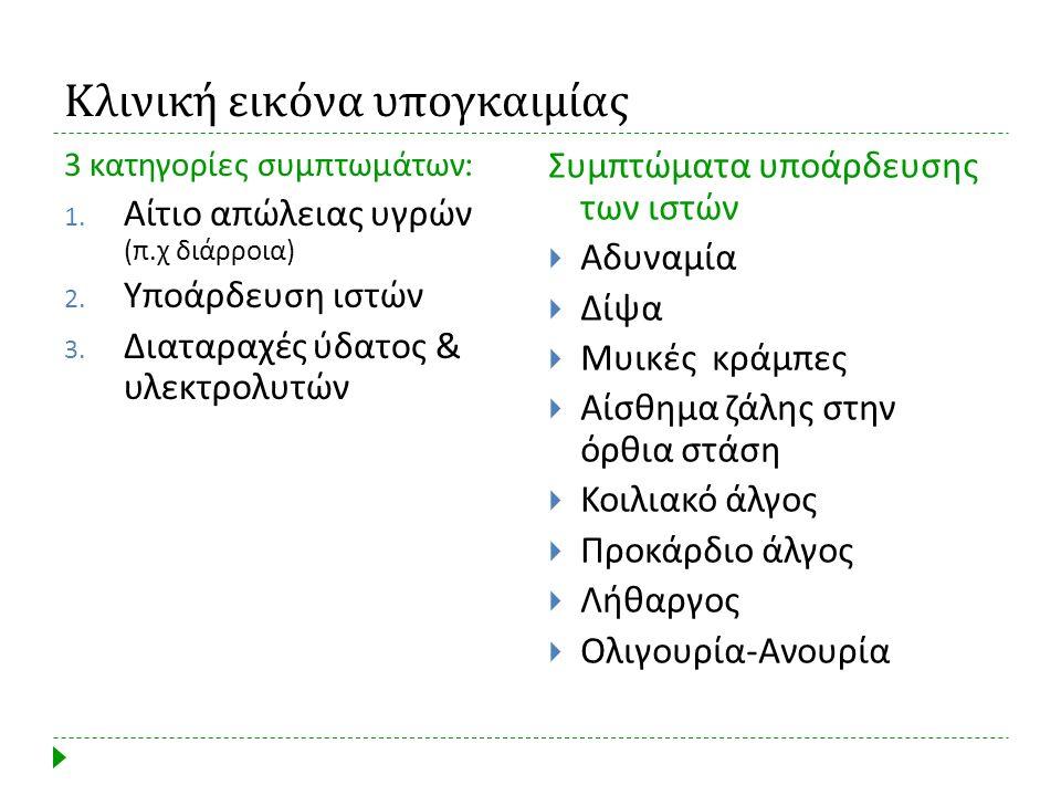 Κλινική εικόνα υπογκαιμίας 3 κατηγορίες συμπτωμάτων : 1. Αίτιο απώλειας υγρών ( π. χ διάρροια ) 2. Υποάρδευση ιστών 3. Διαταραχές ύδατος & υλεκτρολυτώ