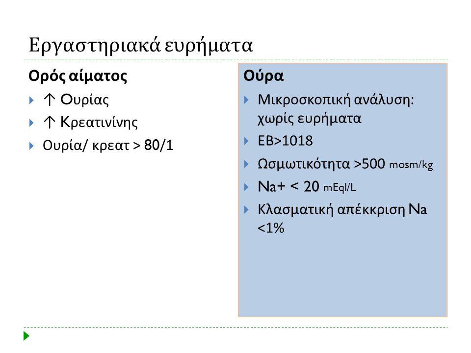 Εργαστηριακά ευρήματα Ορός αίματος  ↑ O υρίας  ↑ K ρεατινίνης  Ουρία / κρεατ > 80/ 1 Ούρα  Μικροσκοπική ανάλυση : χωρίς ευρήματα  ΕΒ >1018  Ωσμω