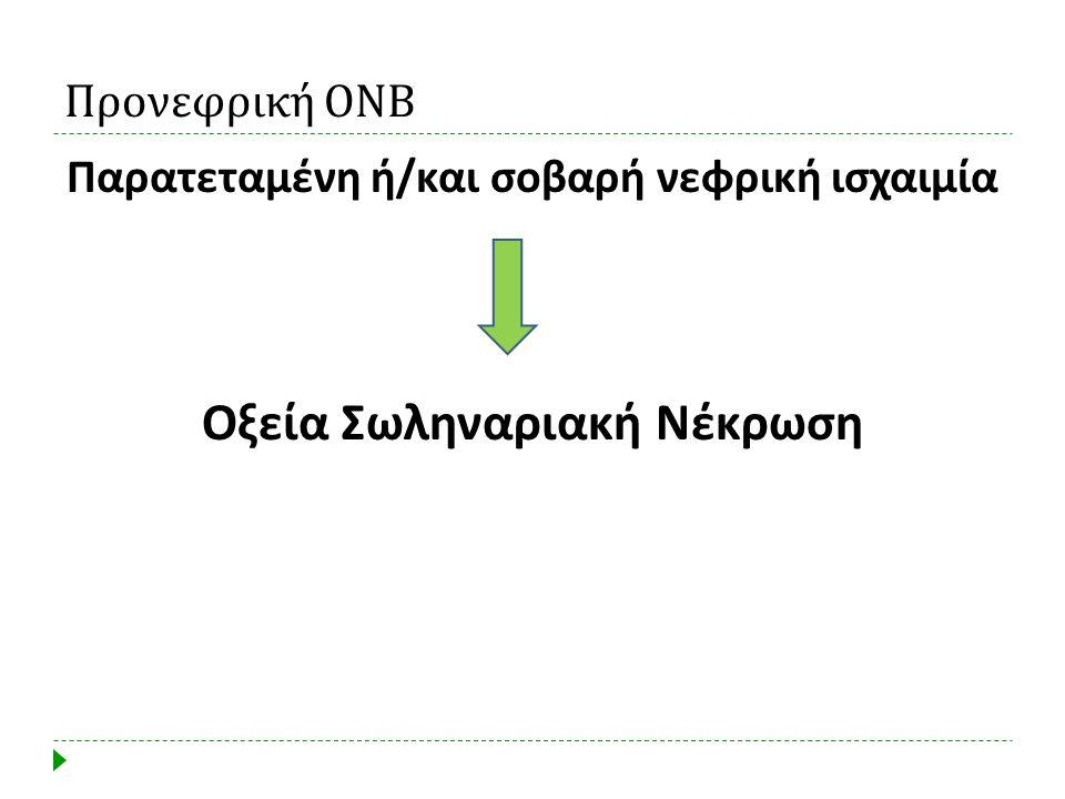 Προνεφρική ΟΝΒ Παρατεταμένη ή / και σοβαρή νεφρική ισχαιμία Οξεία Σωληναριακή Νέκρωση