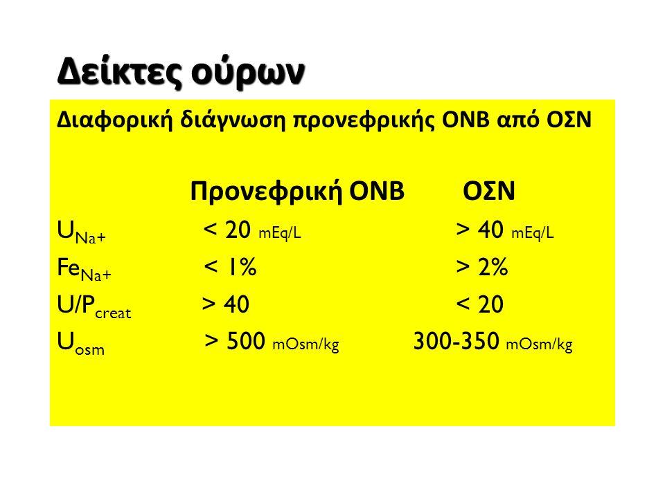 Δείκτες ούρων Διαφορική διάγνωση προνεφρικής ΟΝΒ από ΟΣΝ Προνεφρική ΟΝΒ ΟΣΝ U Na+ 40 mEq/L Fe Na+ 2% U/P creat > 40< 20 U osm > 500 mOsm/kg 300-350 mO