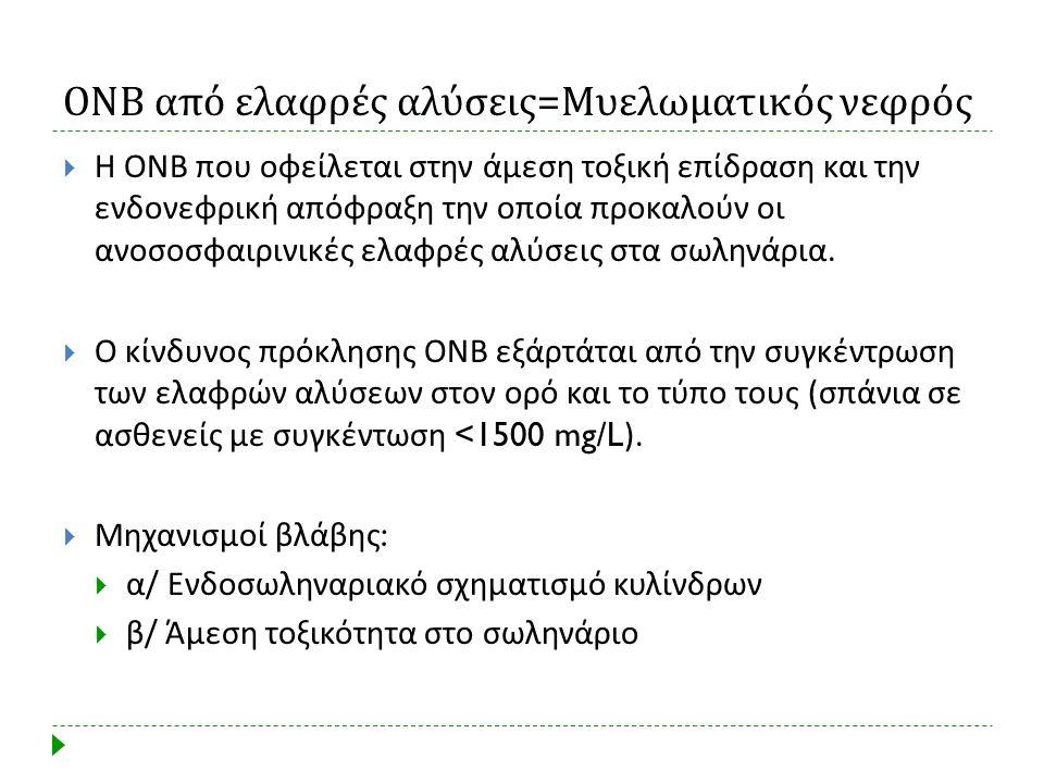 ΟΝΒ από ελαφρές αλύσεις = Μυελωματικός νεφρός  Η ΟΝΒ που οφείλεται στην άμεση τοξική επίδραση και την ενδονεφρική απόφραξη την οποία προκαλούν οι ανο