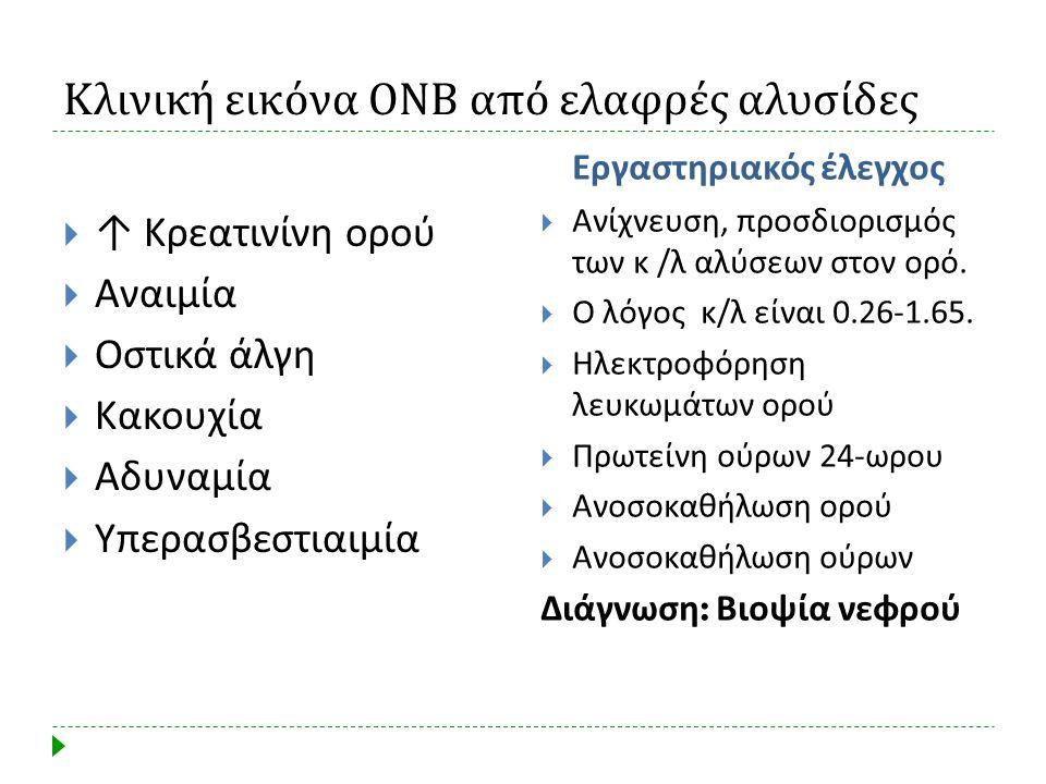 Κλινική εικόνα ΟΝΒ από ελαφρές αλυσίδες  ↑ Κρεατινίνη ορού  Αναιμία  Οστικά άλγη  Κακουχία  Αδυναμία  Υπερασβεστιαιμία Εργαστηριακός έλεγχος  Α