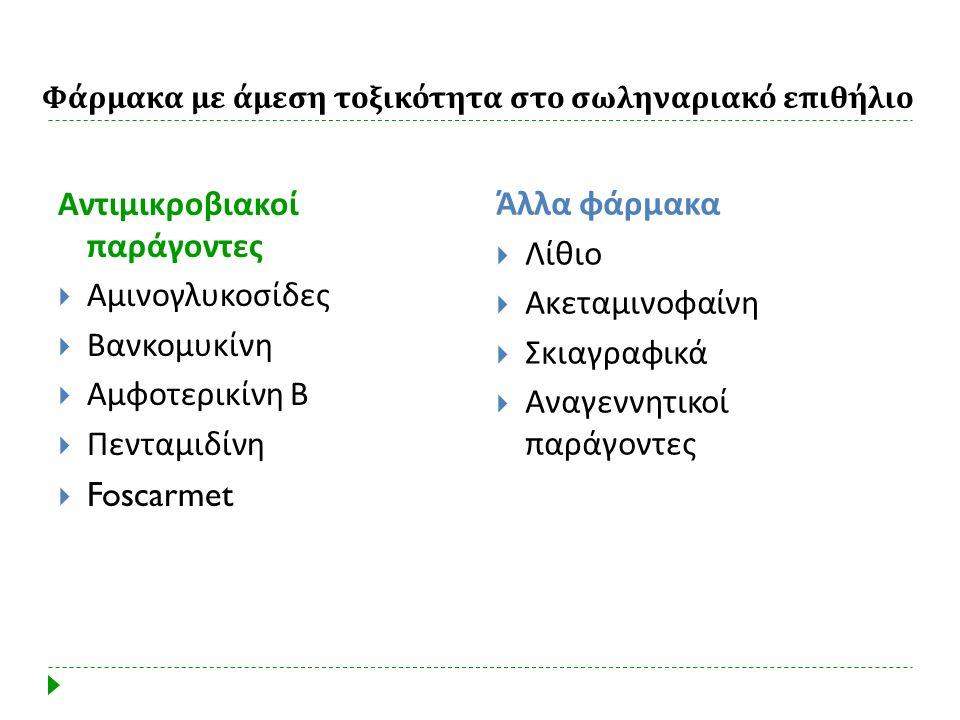 Φάρμακα με άμεση τοξικότητα στο σωληναριακό επιθήλιο Αντιμικροβιακοί παράγοντες  Αμινογλυκοσίδες  Βανκομυκίνη  Αμφοτερικίνη Β  Πενταμιδίνη  Fosca