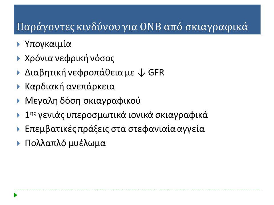 Παράγοντες κινδύνου για ΟΝΒ από σκιαγραφικά  Υπογκαιμία  Χρόνια νεφρική νόσος  Διαβητική νεφροπάθεια με ↓ GFR  Καρδιακή ανεπάρκεια  Μεγαλη δόση σ