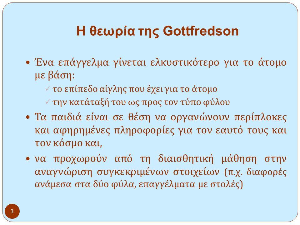 3 Η θεωρία της Gottfredson Ένα επάγγελμα γίνεται ελκυστικότερο για το άτομο με βάση : το επίπεδο αίγλης που έχει για το άτομο την κατάταξή του ως προς τον τύπο φύλου Τα παιδιά είναι σε θέση να οργανώνουν περίπλοκες και αφηρημένες πληροφορίες για τον εαυτό τους και τον κόσμο και, να προχωρούν από τη διαισθητική μάθηση στην αναγνώριση συγκεκριμένων στοιχείων ( π.