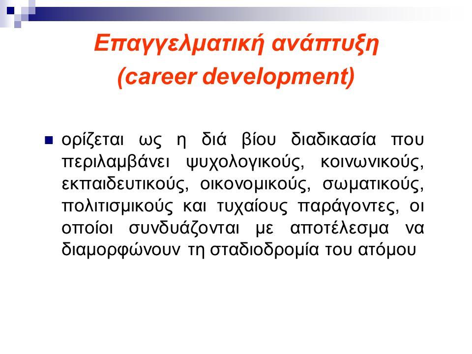 Επαγγελματική ανάπτυξη (career development) Η επαγγελματική ανάπτυξη περιλαμβάνει όλες εκείνες τις πλευρές της ζωής ενός ατόμου που σχετίζονται με τις προσωπικές επιλογές, την είσοδο και την πρόοδο στις εκπαιδευτικές, επαγγελματικές και ερασιτεχνικές ενασχολήσεις.