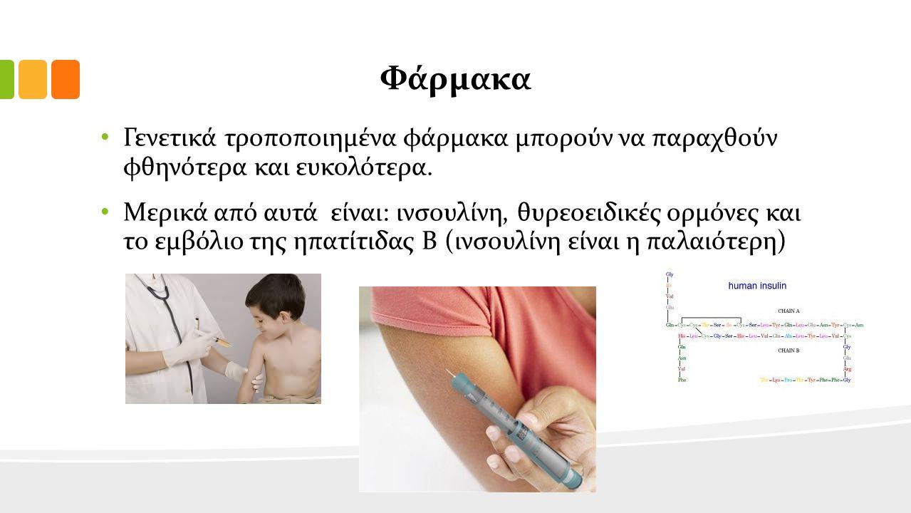 Φάρμακα Γενετικά τροποποιημένα φάρμακα μπορούν να παραχθούν φθηνότερα και ευκολότερα.
