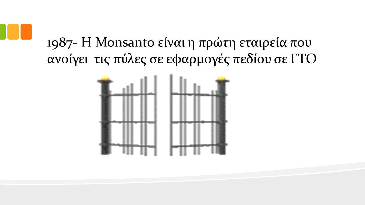 1987- Η Monsanto είναι η πρώτη εταιρεία που ανοίγει τις πύλες σε εφαρμογές πεδίου σε ΓΤΟ