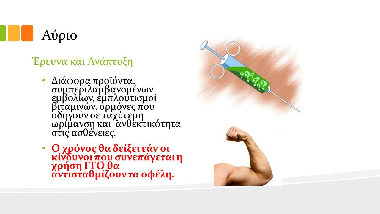 Αύριο Έρευνα και Ανάπτυξη Διάφορα προϊόντα, συμπεριλαμβανομένων εμβολίων, εμπλουτισμοί βιταμινών, ορμόνες που οδηγούν σε ταχύτερη ωρίμανση και ανθεκτικότητα στις ασθένειες.