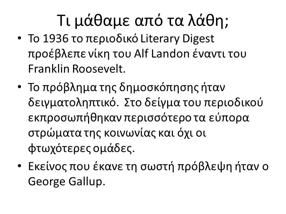 Τι μάθαμε από τα λάθη; Το 1936 το περιοδικό Literary Digest προέβλεπε νίκη του Alf Landon έναντι του Franklin Roosevelt. Το πρόβλημα της δημοσκόπησης