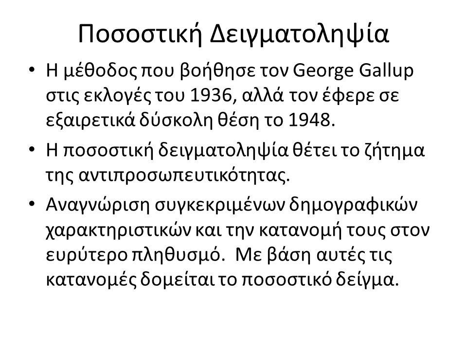 Ποσοστική Δειγματοληψία Η μέθοδος που βοήθησε τον George Gallup στις εκλογές του 1936, αλλά τον έφερε σε εξαιρετικά δύσκολη θέση το 1948. Η ποσοστική
