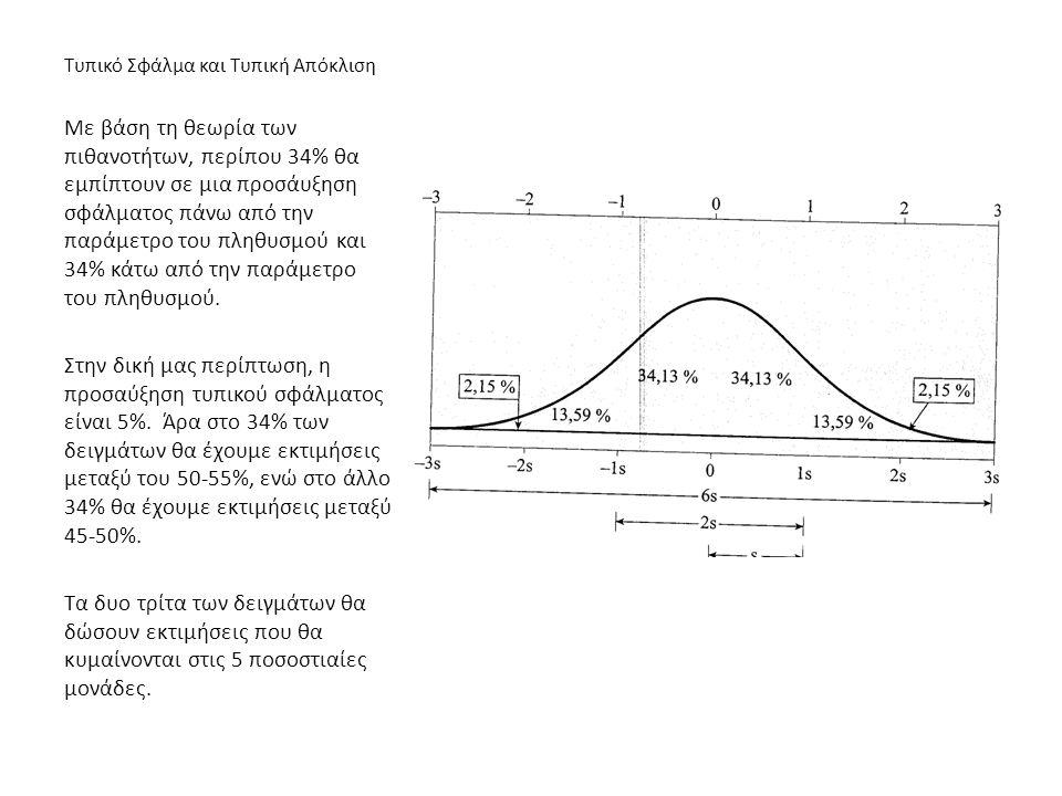 Τυπικό Σφάλμα και Τυπική Απόκλιση Με βάση τη θεωρία των πιθανοτήτων, περίπου 34% θα εμπίπτουν σε μια προσάυξηση σφάλματος πάνω από την παράμετρο του π