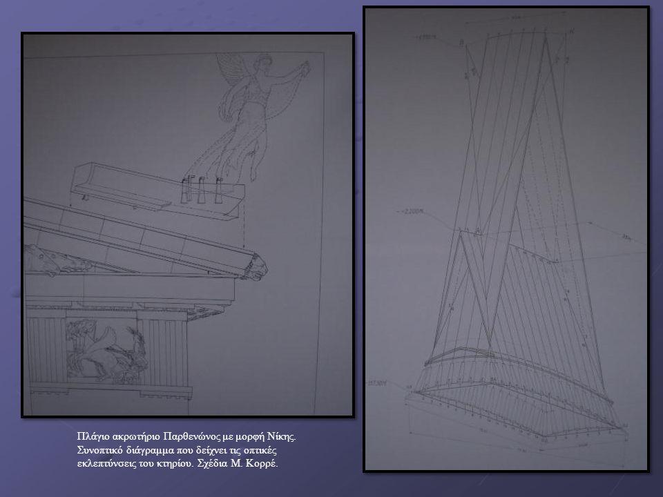 Πλάγιο ακρωτήριο Παρθενώνος με μορφή Νίκης. Συνοπτικό διάγραμμα που δείχνει τις οπτικές εκλεπτύνσεις του κτηρίου. Σχέδια Μ. Κορρέ.
