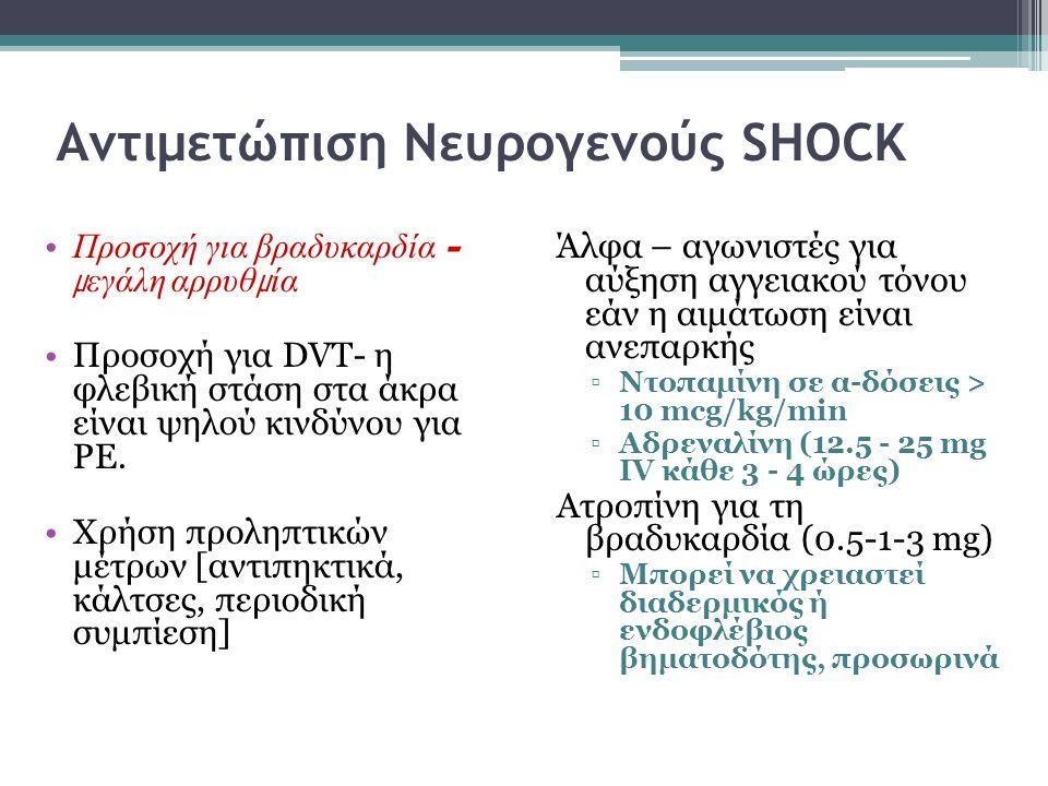 Αντιμετώπιση Νευρογενούς SHOCK Προσοχή για βραδυκαρδία – μ εγάλη αρρυθ μ ία Προσοχή για DVT- η φλεβική στάση στα άκρα είναι ψηλού κινδύνου για PE. Χρή