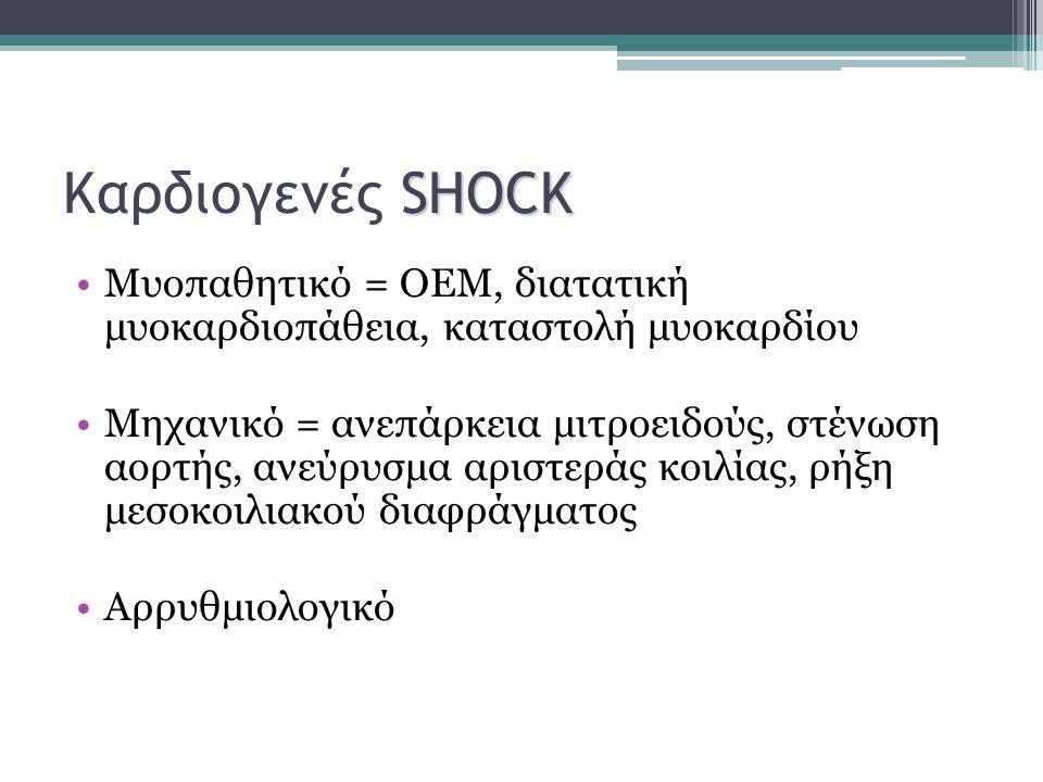 SHOCK Καρδιογενές SHOCK Μυοπαθητικό = ΟΕΜ, διατατική μυοκαρδιοπάθεια, καταστολή μυοκαρδίου Μηχανικό = ανεπάρκεια μιτροειδούς, στένωση αορτής, ανεύρυσμ