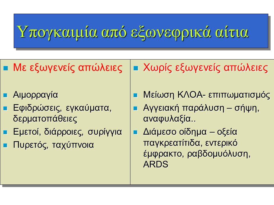 Υπογκαιμία από εξωνεφρικά αίτια n n Με εξωγενείς απώλειες n Αιμορραγία n Εφιδρώσεις, εγκαύματα, δερματοπάθειες n Εμετοί, διάρροιες, συρίγγια n Πυρετός