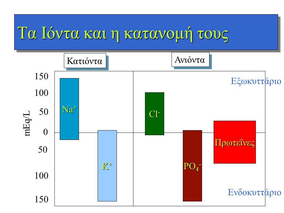 Τα Ιόντα και η κατανομή τους 0 50 100 150 50 100 150 mEq/L Na + K+K+K+K+ Cl - PO 4 - Πρωτεΐνες Κατιόντα Ανιόντα Εξωκυττάριο Ενδοκυττάριο
