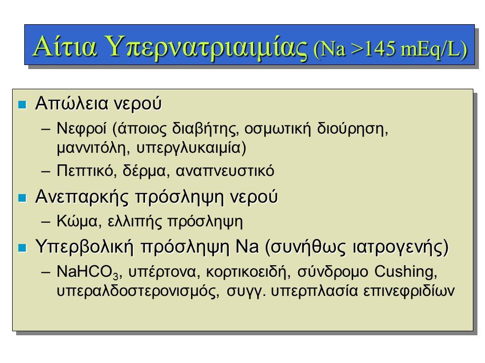 Αίτια Υπερνατριαιμίας (Na >145 mEq/L) n Απώλεια νερού –Νεφροί (άποιος διαβήτης, οσμωτική διούρηση, μαννιτόλη, υπεργλυκαιμία) –Πεπτικό, δέρμα, αναπνευσ