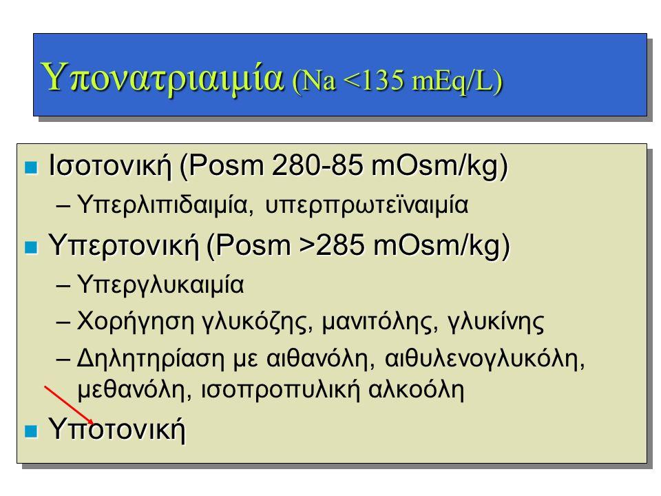 Υπονατριαιμία (Na <135 mEq/L) n Ισοτονική (Posm 280-85 mOsm/kg) –Υπερλιπιδαιμία, υπερπρωτεϊναιμία n Υπερτονική (Posm >285 mOsm/kg) –Υπεργλυκαιμία –Χορ