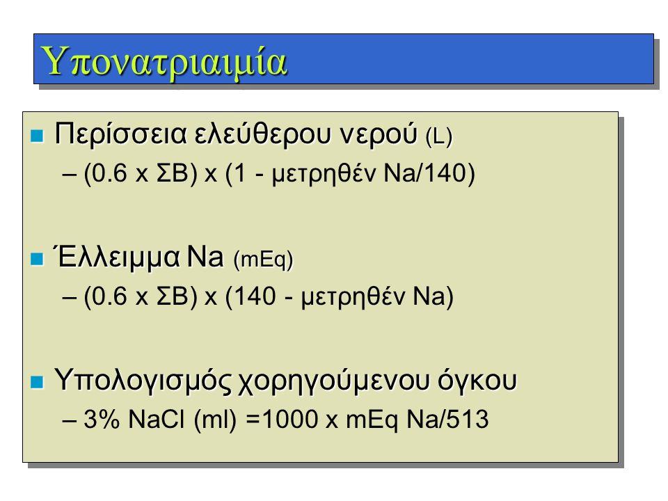ΥπονατριαιμίαΥπονατριαιμία n Περίσσεια ελεύθερου νερού (L) –(0.6 x ΣΒ) x (1 - μετρηθέν Na/140) n Έλλειμμα Na (mEq) –(0.6 x ΣΒ) x (140 - μετρηθέν Na) n