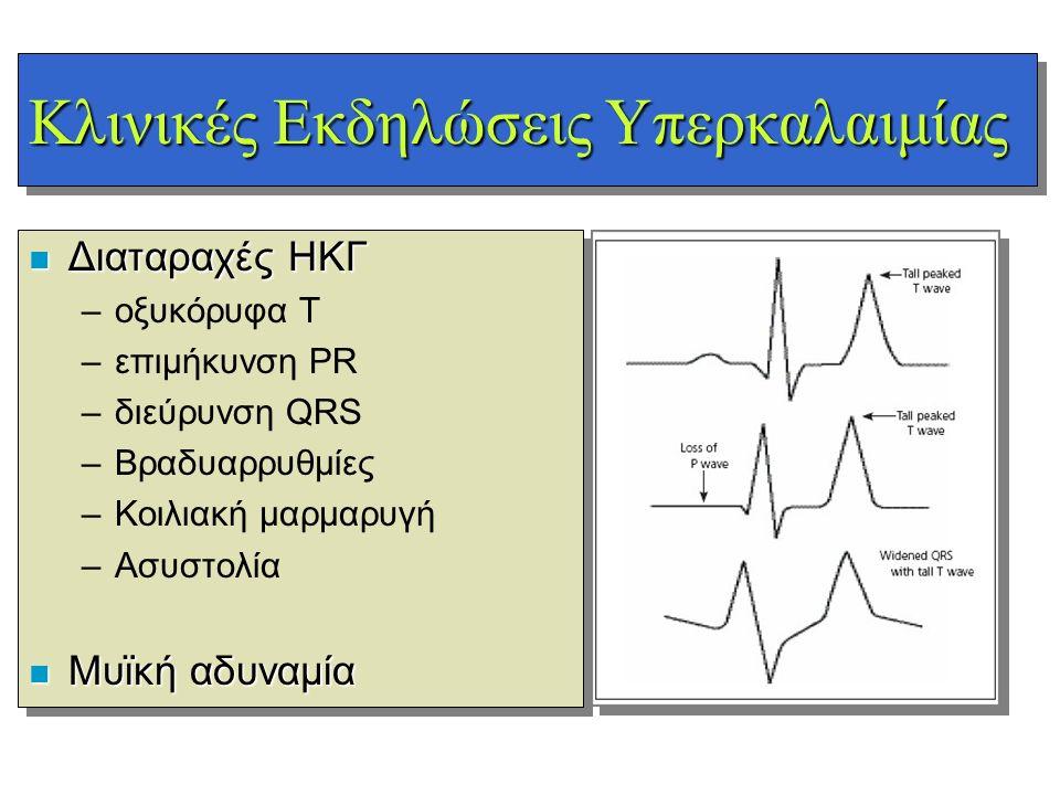 Κλινικές Εκδηλώσεις Υπερκαλαιμίας n Διαταραχές ΗΚΓ –οξυκόρυφα T –επιμήκυνση PR –διεύρυνση QRS –Βραδυαρρυθμίες –Κοιλιακή μαρμαρυγή –Ασυστολία n Μυϊκή α