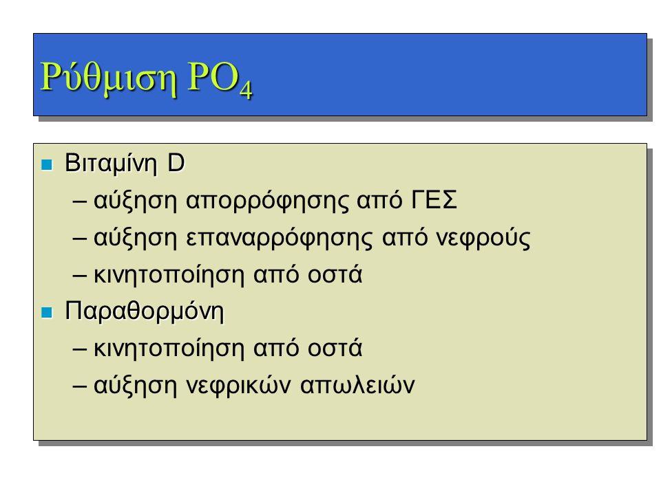 Ρύθμιση PO 4 n Βιταμίνη D –αύξηση απορρόφησης από ΓΕΣ –αύξηση επαναρρόφησης από νεφρούς –κινητοποίηση από οστά n Παραθορμόνη –κινητοποίηση από οστά –α