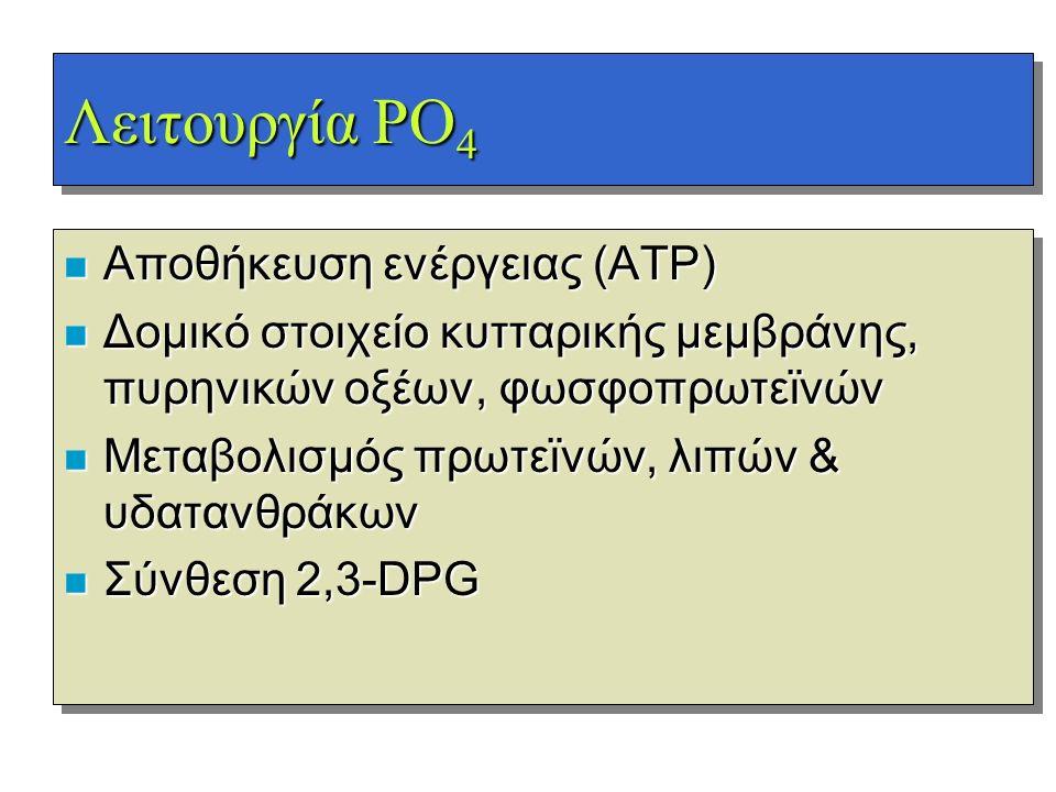 Λειτουργία PO 4 n Αποθήκευση ενέργειας (ΑΤΡ) n Δομικό στοιχείο κυτταρικής μεμβράνης, πυρηνικών οξέων, φωσφοπρωτεϊνών n Μεταβολισμός πρωτεϊνών, λιπών &