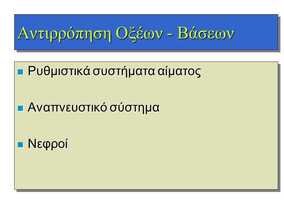 Αντιρρόπηση Οξέων - Βάσεων n Ρυθμιστικά συστήματα αίματος n Αναπνευστικό σύστημα n Νεφροί n Ρυθμιστικά συστήματα αίματος n Αναπνευστικό σύστημα n Νεφρ