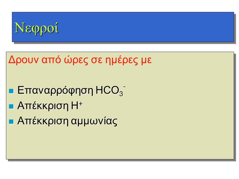 ΝεφροίΝεφροί Δρουν από ώρες σε ημέρες με n Επαναρρόφηση HCO 3 - n Απέκκριση H + n Απέκκριση αμμωνίας Δρουν από ώρες σε ημέρες με n Επαναρρόφηση HCO 3
