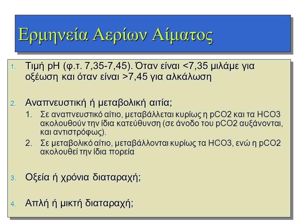 Ερμηνεία Αερίων Αίματος 1. Τιμή pH (φ.τ. 7,35-7,45). Όταν είναι 7,45 για αλκάλωση 2. Αναπνευστική ή μεταβολική αιτία; 1.Σε αναπνευστικό αίτιο, μεταβάλ