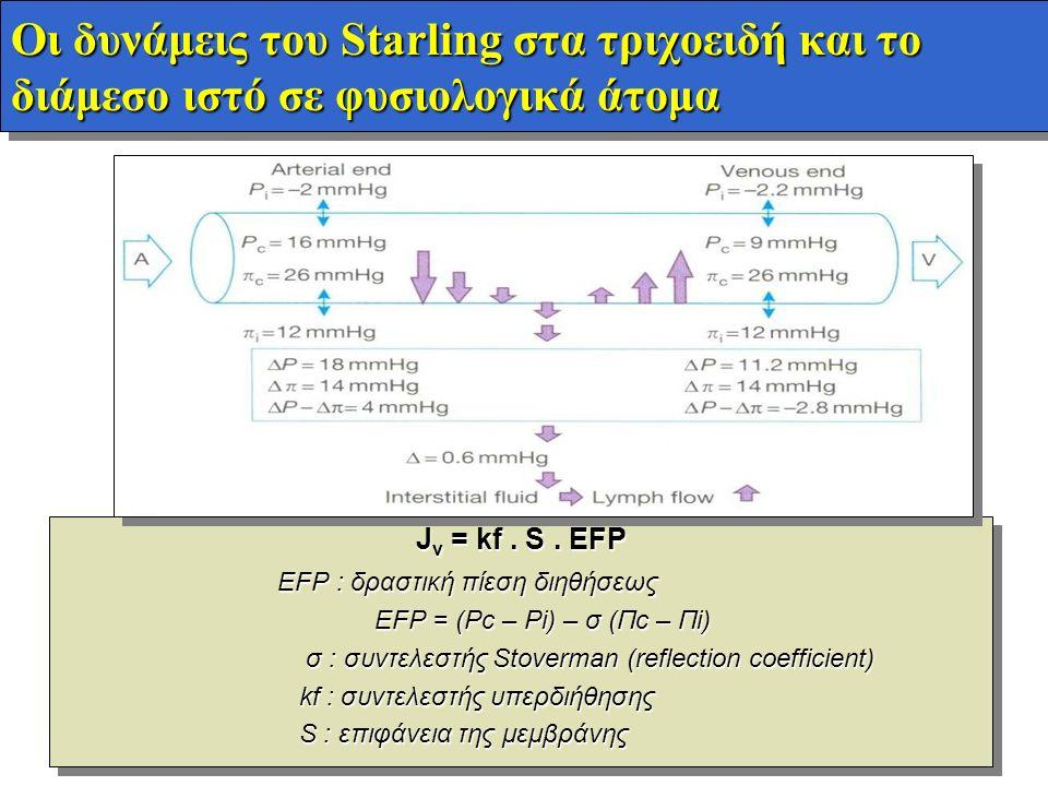 Οι δυνάμεις του Starling στα τριχοειδή και το διάμεσο ιστό σε φυσιολογικά άτομα J v = kf. S. EFP EFP : δραστική πίεση διηθήσεως EFP = (Pc – Pi) – σ (Π