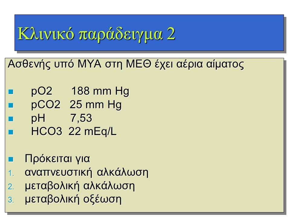 Κλινικό παράδειγμα 2 Ασθενής υπό ΜΥΑ στη ΜΕΘ έχει αέρια αίματος n pO2 188 mm Hg n pCO2 25 mm Hg n pH 7,53 n HCO3 22 mEq/L n Πρόκειται για 1. αναπνευστ