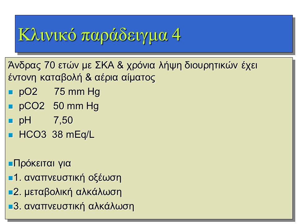 Κλινικό παράδειγμα 4 Άνδρας 70 ετών με ΣΚΑ & χρόνια λήψη διουρητικών έχει έντονη καταβολή & αέρια αίματος n pO2 75 mm Hg n pCO2 50 mm Hg n pH 7,50 n H