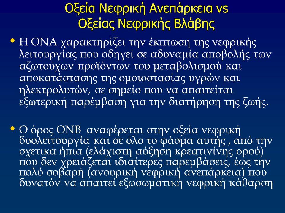 Oξεία Nεφρική Aνεπάρκεια vs Oξείας Nεφρικής Bλάβης Η ΟΝΑ χαρακτηρίζει την έκπτωση της νεφρικής λειτουργίας που οδηγεί σε αδυναμία αποβολής των αζωτούχ