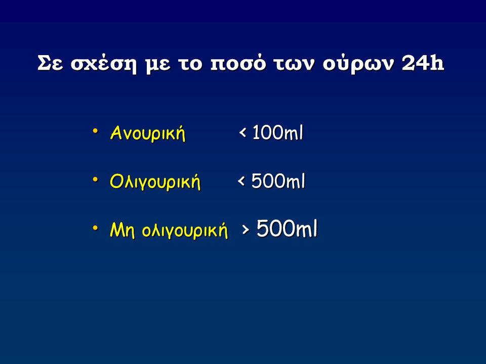 Σε σχέση με το ποσό των ούρων 24h Ανουρική ‹ 100ml Ανουρική ‹ 100ml Ολιγουρική ‹ 500ml Ολιγουρική ‹ 500ml Μη ολιγουρική › 500ml Μη ολιγουρική › 500ml