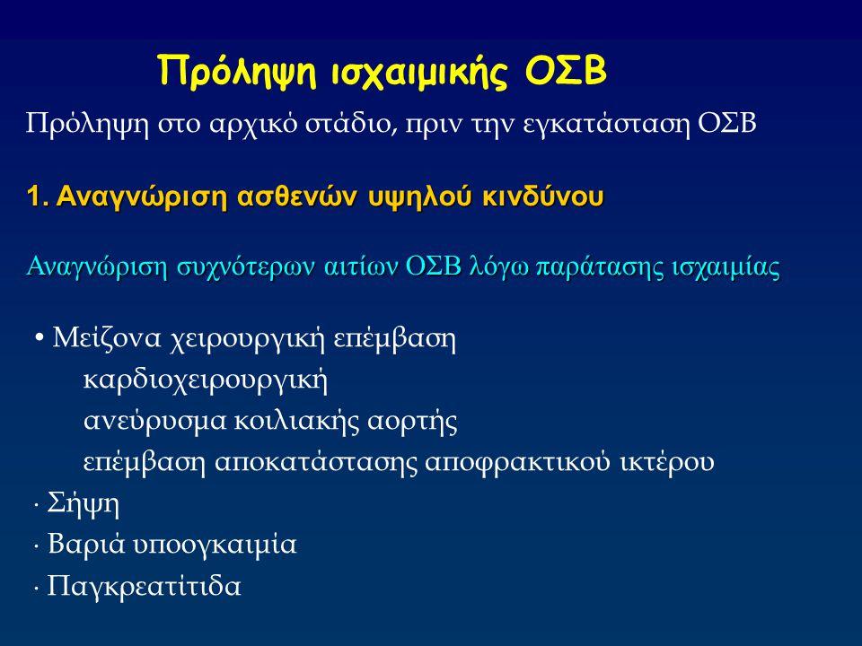 Πρόληψη ισχαιμικής ΟΣΒ Πρόληψη στο αρχικό στάδιο, πριν την εγκατάσταση ΟΣΒ 1. Αναγνώριση ασθενών υψηλού κινδύνου Αναγνώριση συχνότερων αιτίων ΟΣΒ λόγω