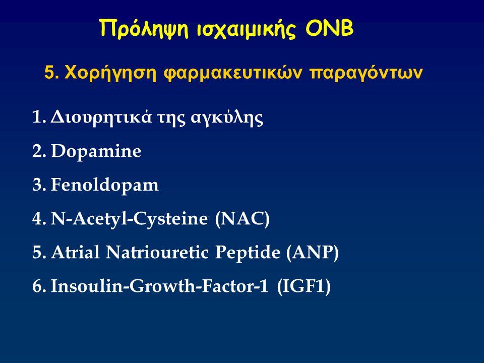 Πρόληψη ισχαιμικής ΟΝΒ 5. Χορήγηση φαρμακευτικών παραγόντων 1.Διουρητικά της αγκύλης 2.Dopamine 3.Fenoldopam 4.N-Acetyl-Cysteine (NAC) 5.Atrial Natrio