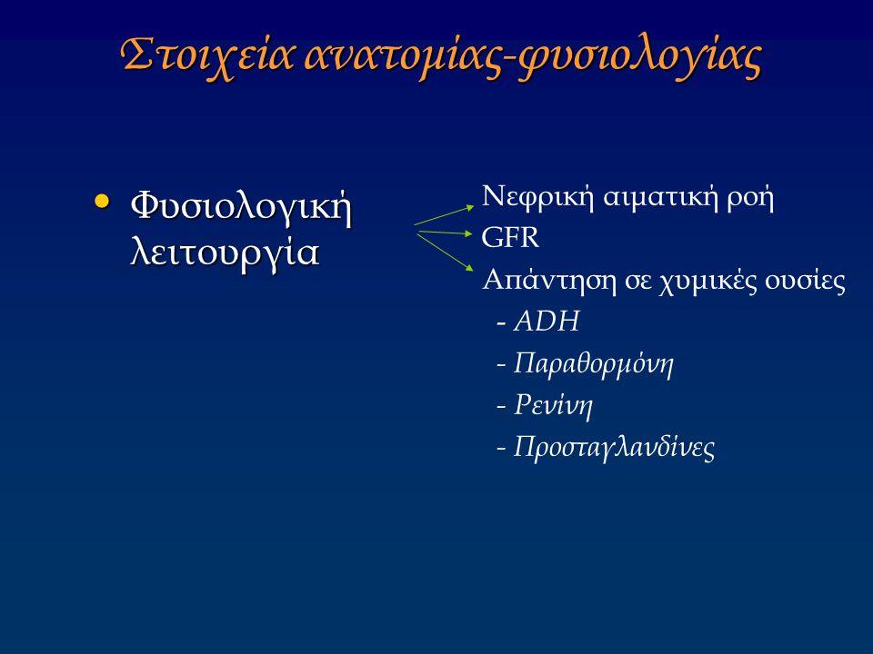 Στοιχεία ανατομίας-φυσιολογίας Φυσιολογική λειτουργία Φυσιολογική λειτουργία Νεφρική αιματική ροή GFR Aπάντηση σε χυμικές ουσίες - ADH - Παραθορμόνη -
