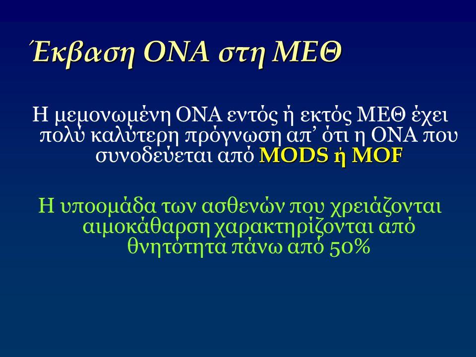 Έκβαση ΟΝΑ στη ΜΕΘ MODS ή MOF Η μεμονωμένη ΟΝΑ εντός ή εκτός ΜΕΘ έχει πολύ καλύτερη πρόγνωση απ' ότι η ΟΝΑ που συνοδεύεται από MODS ή MOF Η υποομάδα τ