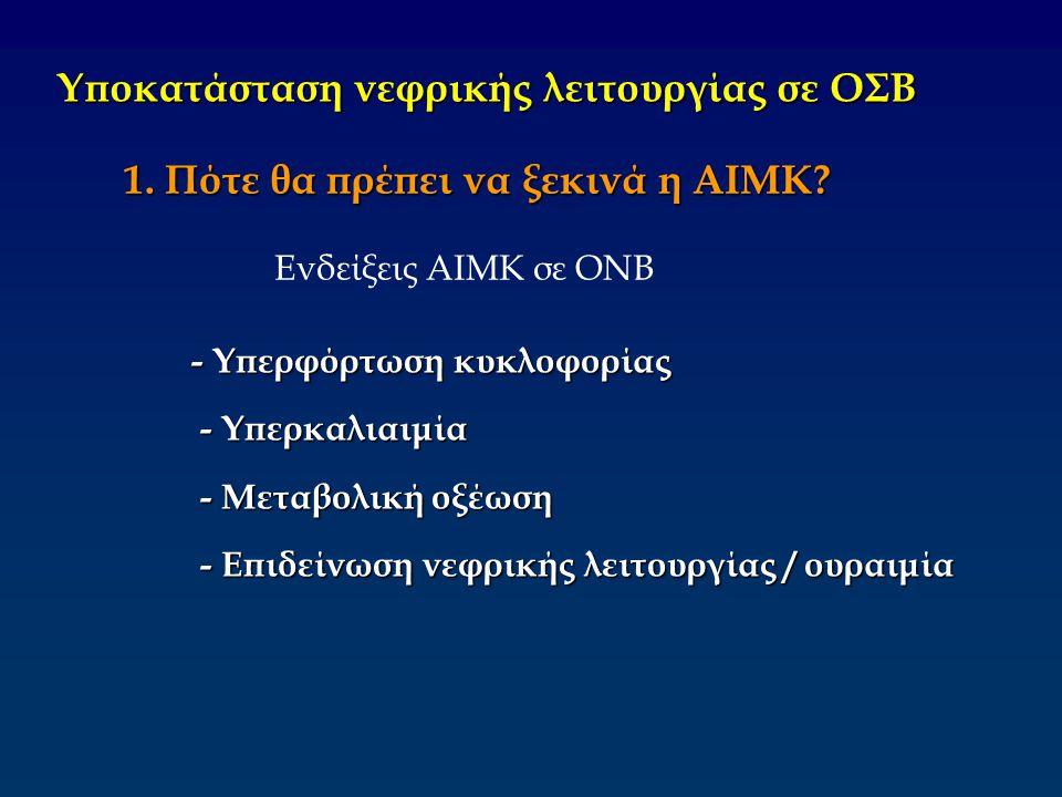 Υποκατάσταση νεφρικής λειτουργίας σε ΟΣΒ 1. Πότε θα πρέπει να ξεκινά η ΑΙΜΚ? - Υπερφόρτωση κυκλοφορίας - Υπερκαλιαιμία - Υπερκαλιαιμία - Μεταβολική οξ